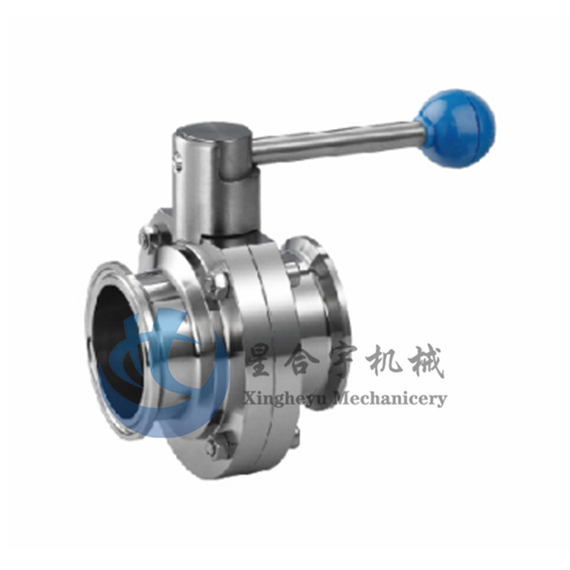 Sanitary fast installation butterfly valve